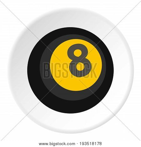 Black snooker eight pool icon in flat circle isolated vector illustration for web