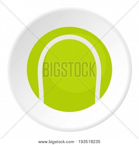Ball for playing tennis icon in flat circle isolated vector illustration for web