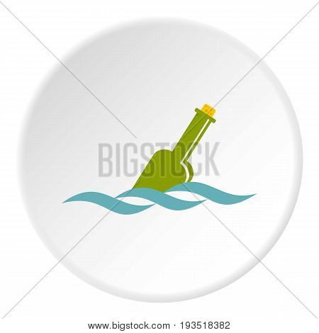 Glass green bottle in a water icon in flat circle isolated vector illustration for web