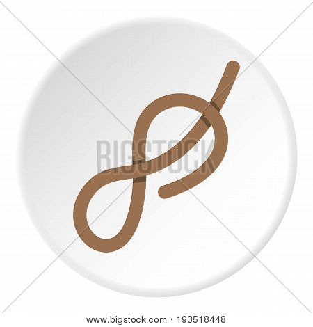 Ship rope con. Flat illustration of ship rope knot vector icon in flat circle isolated vector illustration for web