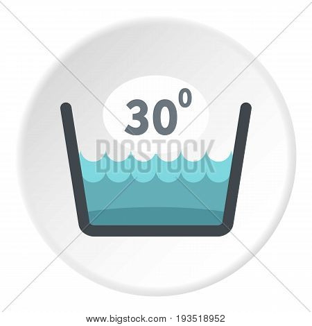 Delicate gentle thirty degrees washing laundry symbol icon in flat circle isolated vector illustration for web