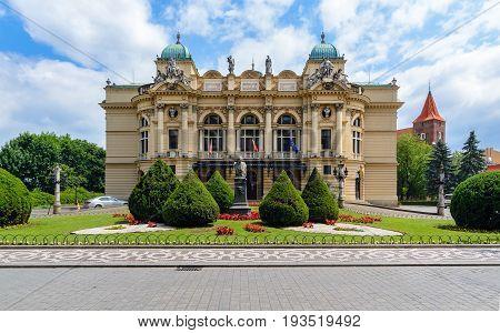 Krakow Slowackiego theater in summer time. Poland. Europe.