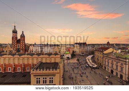 Krakow Market Square on sunset Poland. Europe.