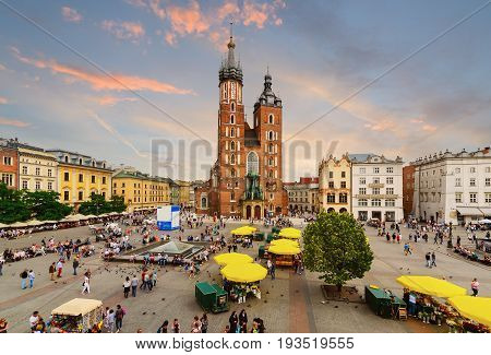 Rynek Glowny - The main square of Krakow Poland. Europe in the evening.