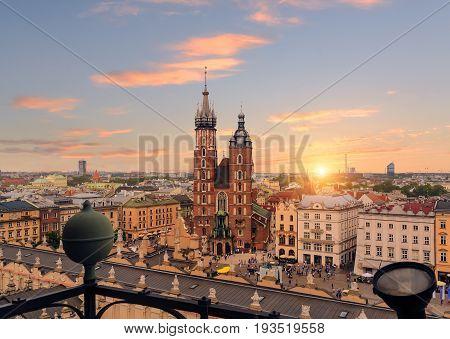 Krakow Market Square after sunset, Poland. Europe.