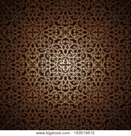Vintage gold background, golden ornament, swirly lattice pattern