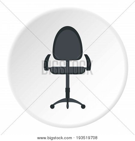 Black modern office chair icon in flat circle isolated vector illustration for web