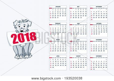 Classic american calendar for wall year 2018 with cartoon blue dog. English language. Week starts on Sunday. There are all 12 month. eps 10
