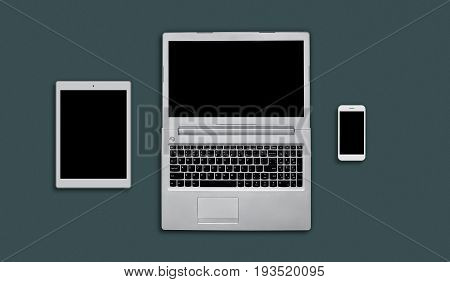 Layout Of Modern Gadgets For Web Design. Top View Of Electonic Devices: Tablet, Laptop Computer And