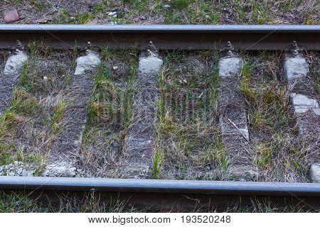 Close up of railway tracks background horizontal image