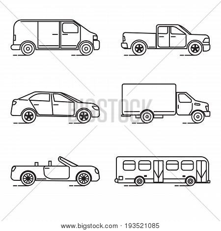 Collection of transportation icons in thin line style. Various vehicles - car, truck, bus.