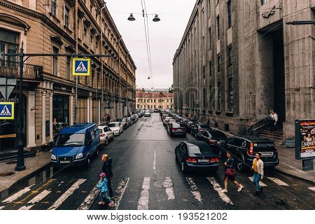Saint Petersburg, RUSSIA - MAY 31, 2017: Streets of St. Petersburg, crossing Nevsky Prospekt - the main street of St. Petersburg, stretching from the Admiralty to the Alexander Nevsky Lavra.