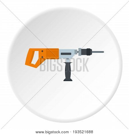 Electric drill, perforator icon in flat circle isolated vector illustration for web