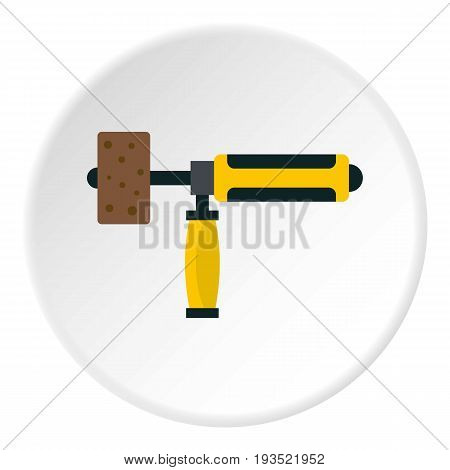 Precision grinding machine icon in flat circle isolated vector illustration for web