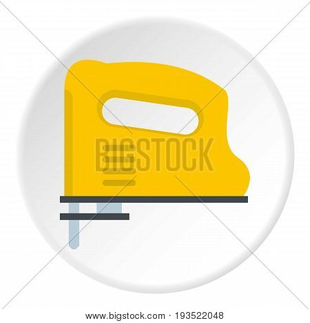 Yellow pneumatic gun icon in flat circle isolated vector illustration for web