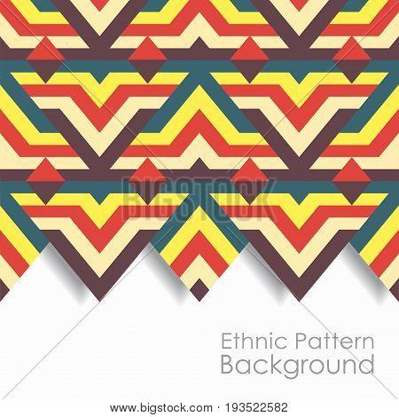 Ethnic striped zigzag pattern background. Vector illustration.