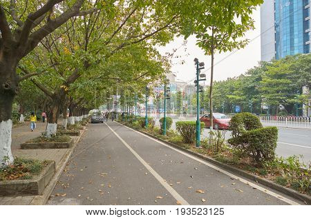 SHENZHEN, CHINA - JANUARY 11, 2015: Shenzhen urban landscape at daytime. ShenZhen is regarded as one of the most successful Special Economic Zones.