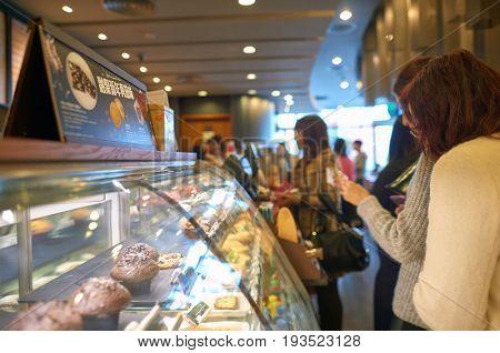 SHENZHEN, CHINA - JANUARY 11, 2015: display case at Starbucks coffee shop in ShenZhen
