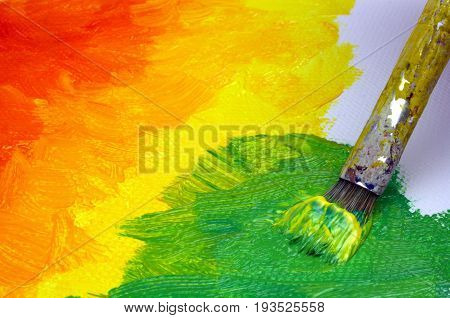 Abstract painting on canvas close up image