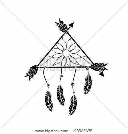contour beauty dream catcher with feathers and arrows design vector illustration