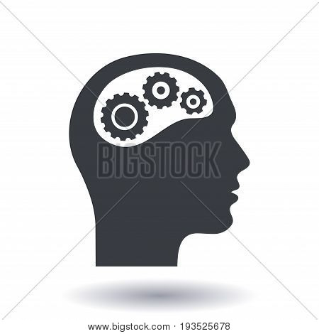 Thinking icon.  Silhouette of gear in head. Flat design style.