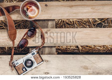 Lemonade Sunglasses Camera On Wooden Background At Summer Street Food Festival Flat Lay. Space For T