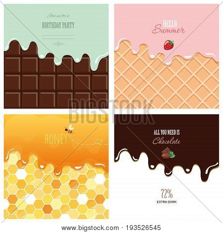 Different melted textures set. Cream on the chocolate bar ice-cream on the wafer honey on the honeycomb. Cute design with sample text. vector