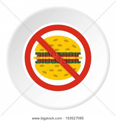 No fast food icon in flat circle isolated vector illustration for web