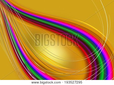 Abstract rainbow curved convex intersecting waves on orange basis covered with thin stripes