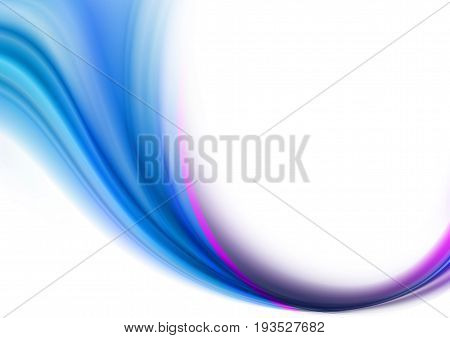 Abstract white background with curved rays blue shades converge into a narrow stream and covered with a crimson stripe