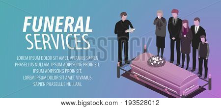 Funeral services banner. Burial, cemetery, graveyard death concept Vector illustration