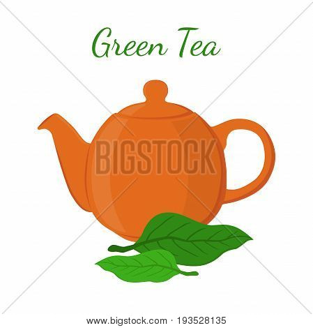 Green tea - asian drink. Teapot, leaves of matcha tea, teakettle. Made in cartoon flat vector style