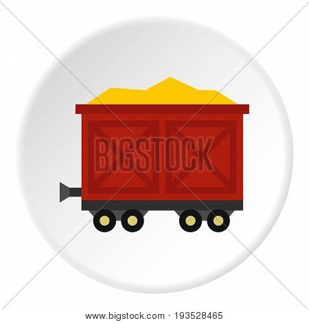 Cart on wheels with gold icon in flat circle isolated vector illustration for web