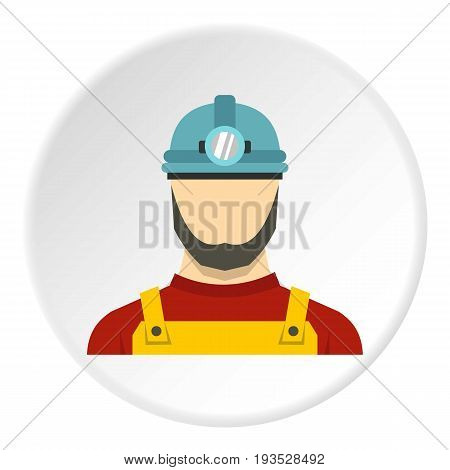 Male miner icon in flat circle isolated vector illustration for web