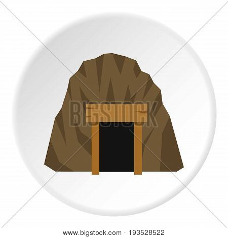 Mine in mountain icon in flat circle isolated vector illustration for web