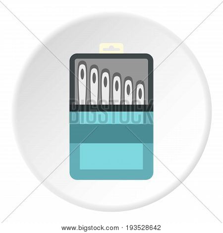 Set of needles icon in flat circle isolated vector illustration for web