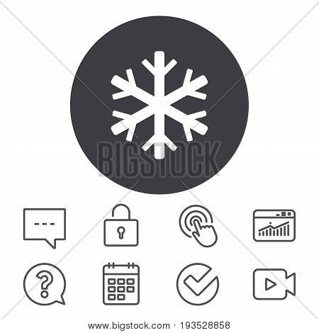 Snowflake sign icon. Air conditioning symbol. Calendar, Locker and Speech bubble line signs. Video camera, Statistics and Question icons. Vector