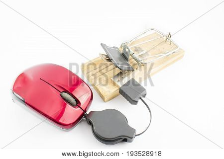 Red computer mouse with a trap on a white background.