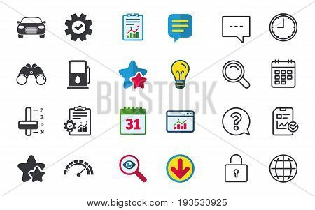Transport icons. Car tachometer and automatic transmission symbols. Petrol or Gas station sign. Chat, Report and Calendar signs. Stars, Statistics and Download icons. Question, Clock and Globe. Vector