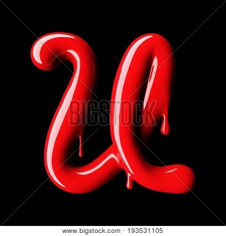 Glossy red letter U uppercase. 3D rendering font with glint on black background.