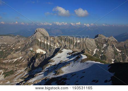Mount Altmann in summer. Mountain of the Alpstein Range Appenzell Canton.