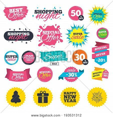 Sale shopping banners. Happy new year icon. Christmas tree and gift box signs. Fireworks explosive symbol. Web badges, splash and stickers. Best offer. Vector