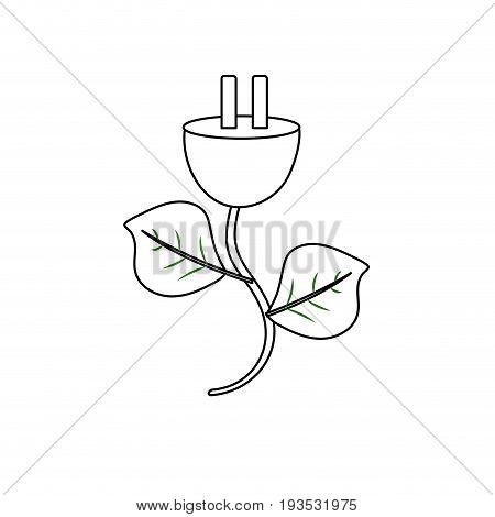 line power cable with leaves to environment care vector illustration