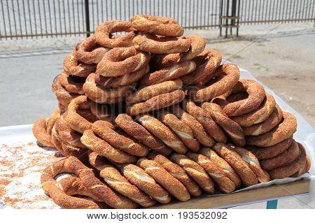Turkish traditional sesame bagels. - Simit -