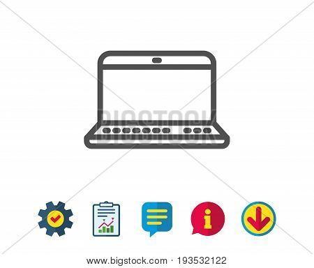 Laptop computer icon. Notebook sign. Portable personal computer symbol. Report, Service and Information line signs. Download, Speech bubble icons. Editable stroke. Vector