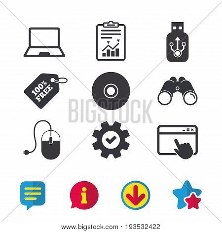 Notebook pc and Usb flash drive stick icons. Computer mouse and CD or DVD sign symbols. Browser window, Report and Service signs. Binoculars, Information and Download icons. Stars and Chat. Vector