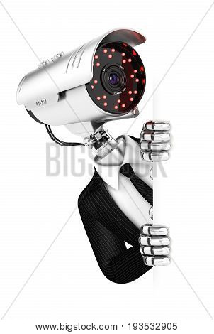 3d security agent with camera head peeping over blank wall illustration with isolated white background