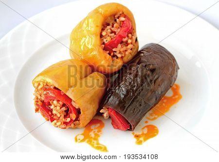 Turkish cuisine. ( Dolma ). pepper and eggplant stuffed