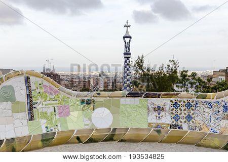 Barcelona landscape from park Güell with Antonio Gaudi design bench