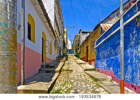 This is the very colorful Flores Street in Antigua Guatemala